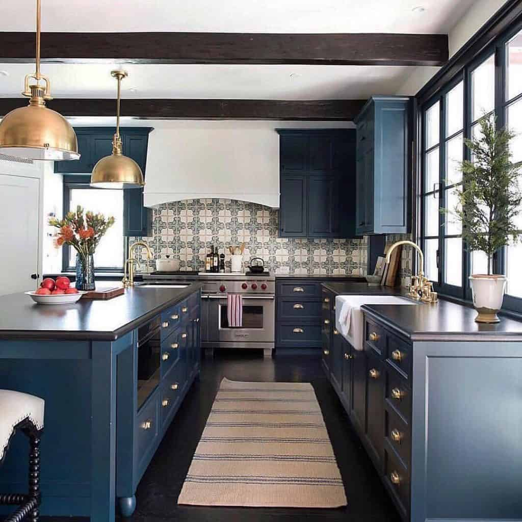 Navy Blue Spanish Kitchen (by. @texbatson)