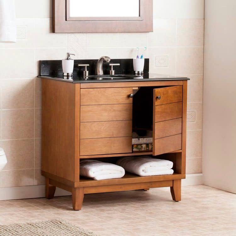 Single Bath Vanity with Granite Top Sink (by. wayfair.com)