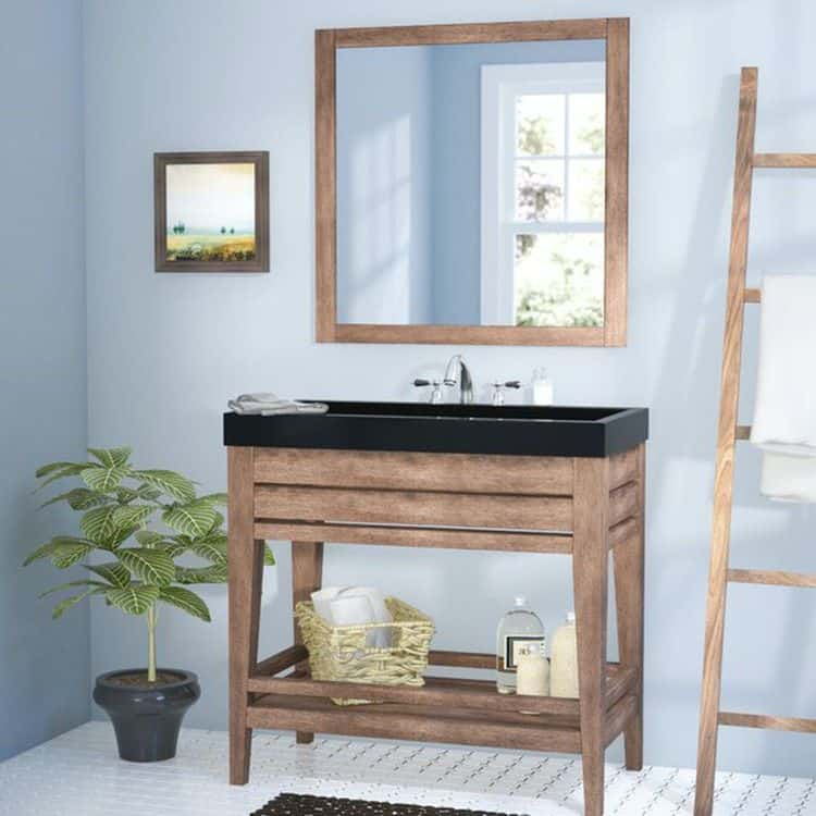 Blue Bathroom with Wooden Reclaimed Vanity (by. wayfair.com)