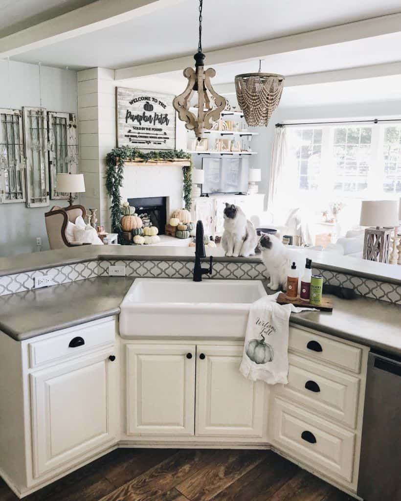 Eclectic Apron Sink with Black Faucet (by. cottonstem.com)