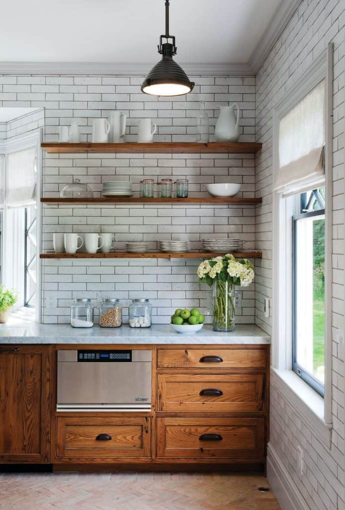 Chestnut Cabinets in White Kitchen (by. houzz.com)
