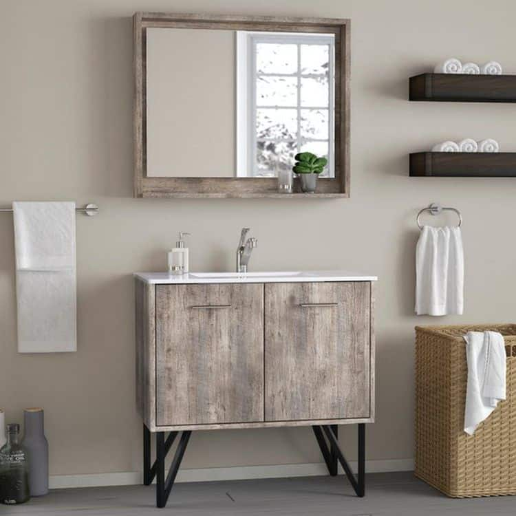 Modern Minimalist Rustic Bathroom Vanity (by. wayfair.com)