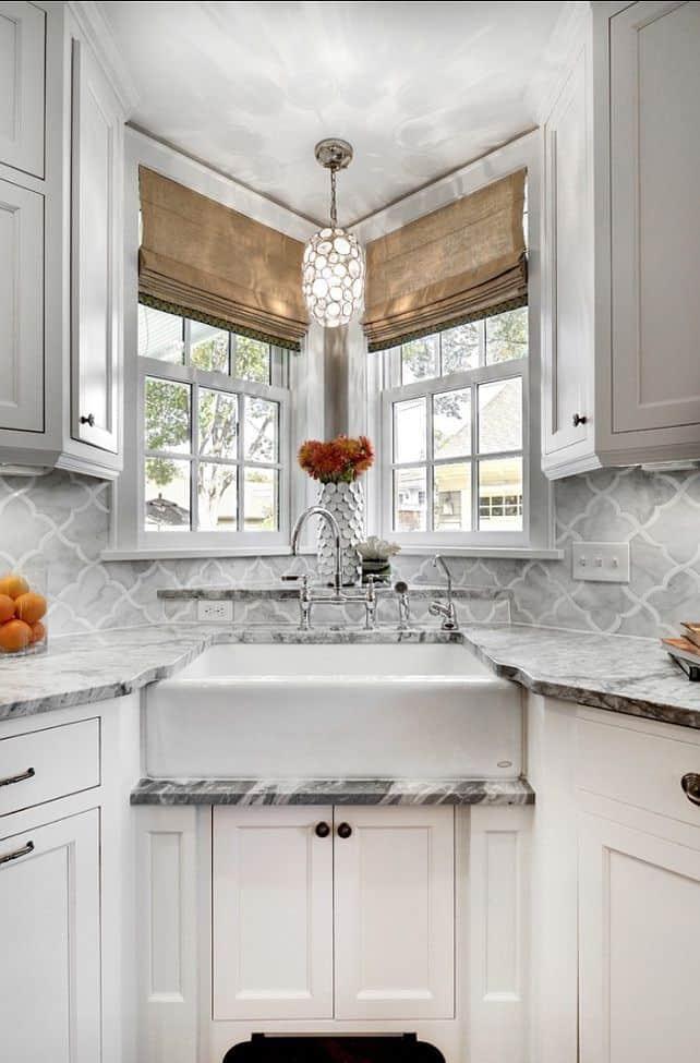 Elegant Grey Corner Sink Space (by. homebunch.com)