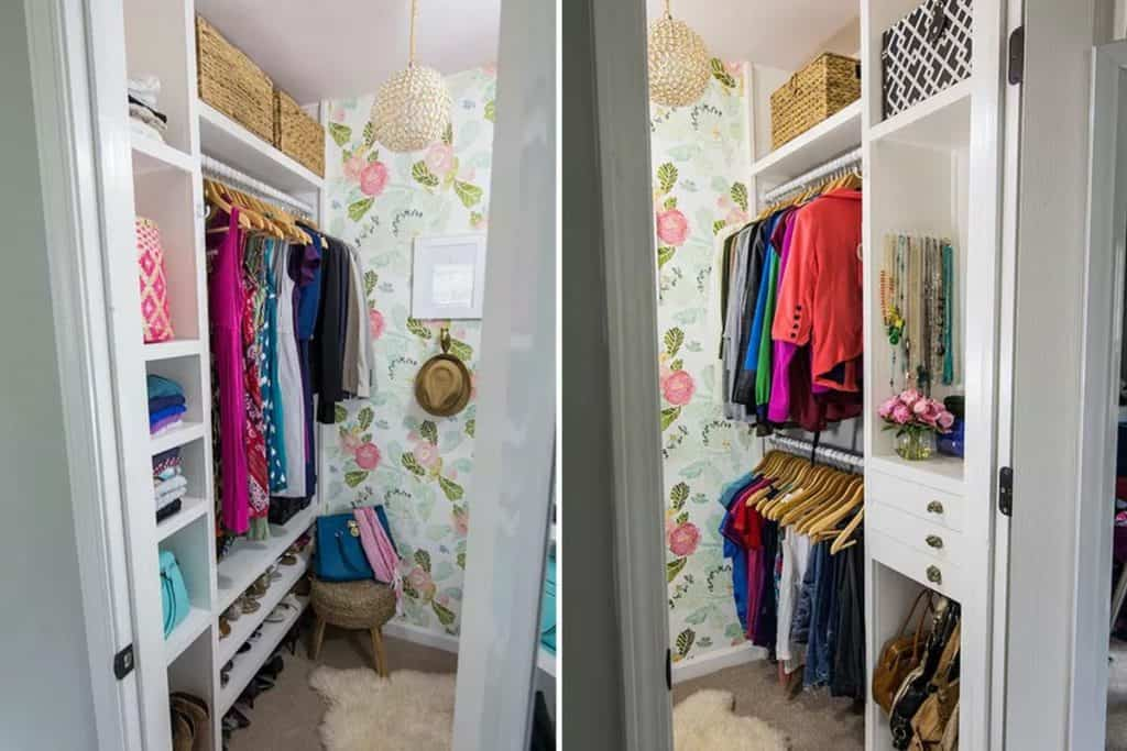 Small Closet with Floral Wallpaper (by. viewalongtheway.com)