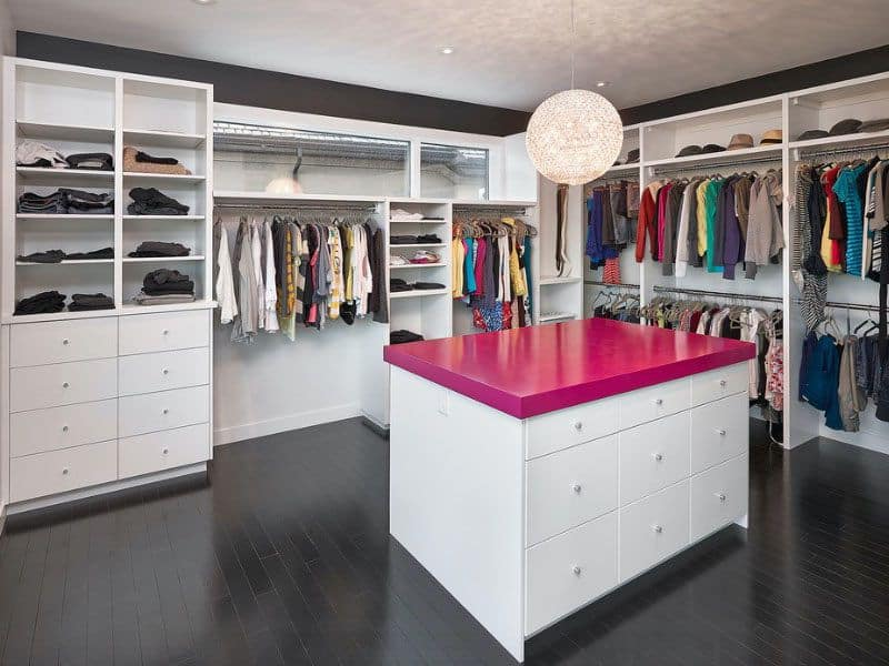 Modern Walk-in Closet with Pink Countertop (by. freshome.com)