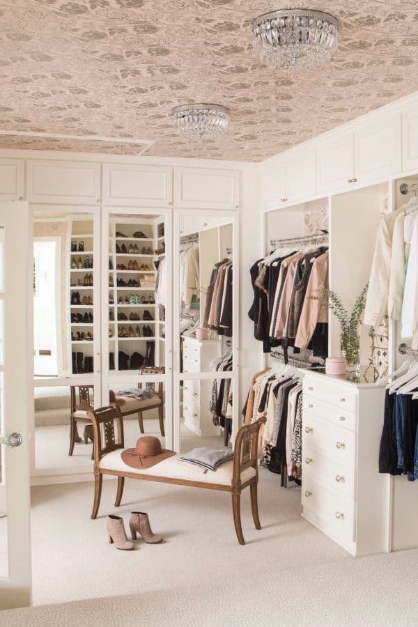 Pastel Pink Closet with Bench Mirror (by. deringhall.com)
