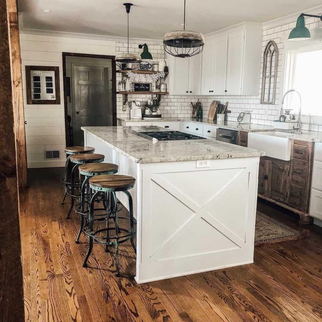 White Farmhouse Kitchen with Island (by. functionalfarmhouse)