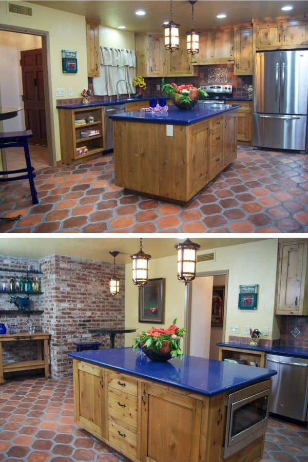 Red Bricks and Tiles in Spanish Kitchen (by. diynetwork.com)