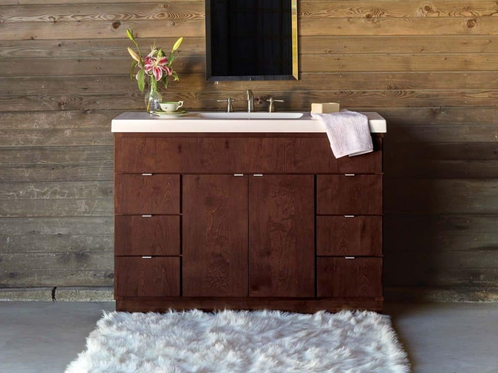 Wood Vanity with Rustic Wall Board (by. bertch.com)
