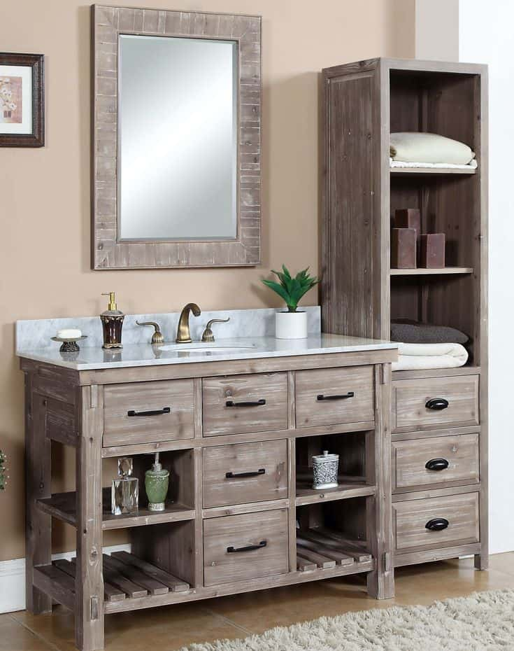 Ash Grey Limestone Top Rustic Vanity (by. listvanities.com)