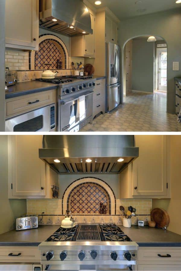 Small Spanish Kitchen with Arched Decorative Tiles (by. hgtv.com)