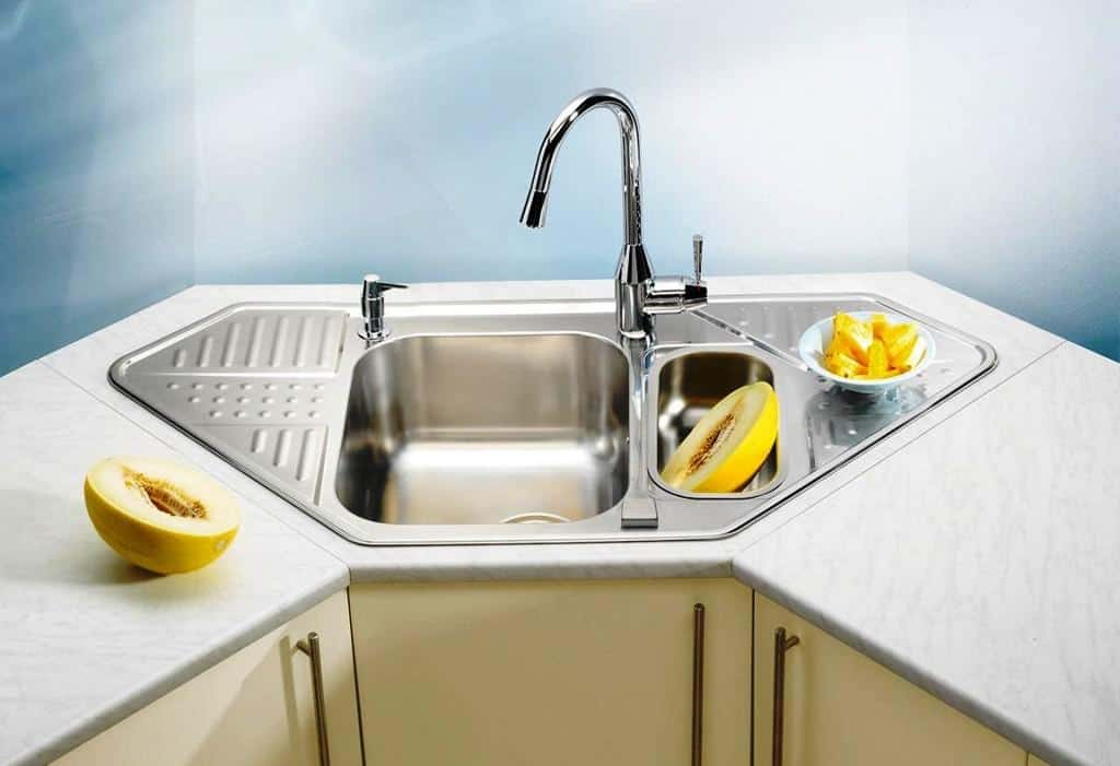 19 Beautiful And Practical Corner Kitchen Sink Inspirations