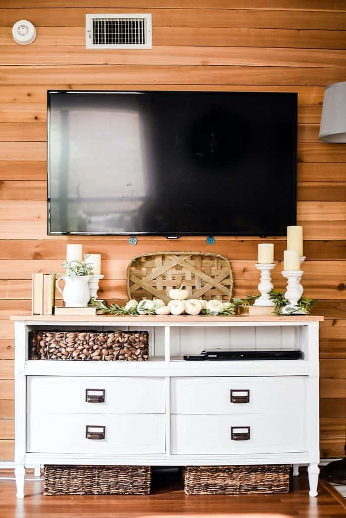 White Dresser Rustic TV Stand (by. ourhandcraftedlife.com)