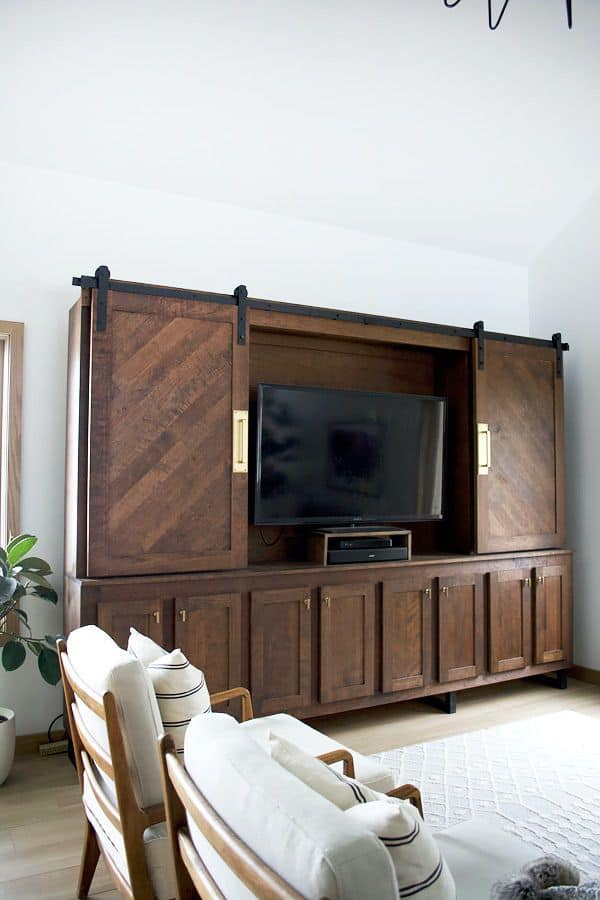 Cabinet Look Like TV Stand with Sliding Doors (by. brepurposed.porch.com)