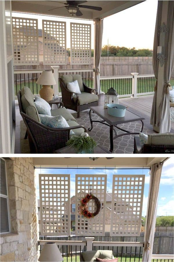 Homemade Wood Painted in White Privacy Screen (by. mariaelenasdecor.blogspot.com)
