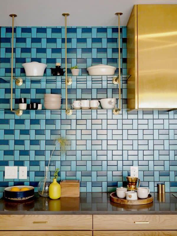 Tiled Backsplash in Bold Blue