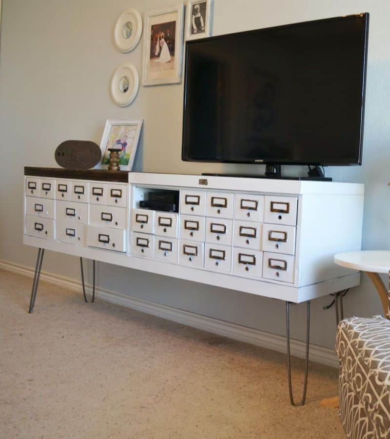 White TV Stand with Security Box Console (by. adventuresincreating.blogspot.com)