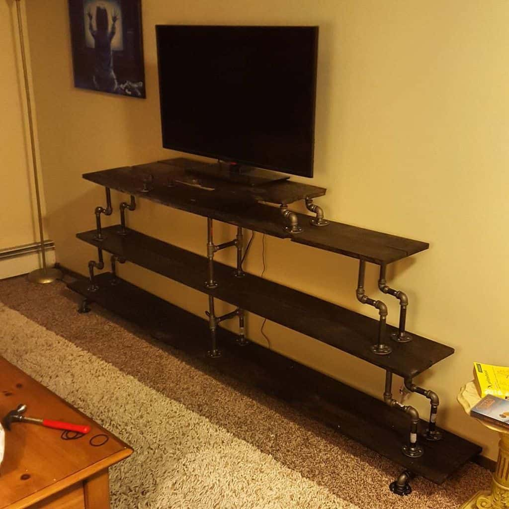 Furnished Racks TV Stand with Pipes (by. @brennen_semple)