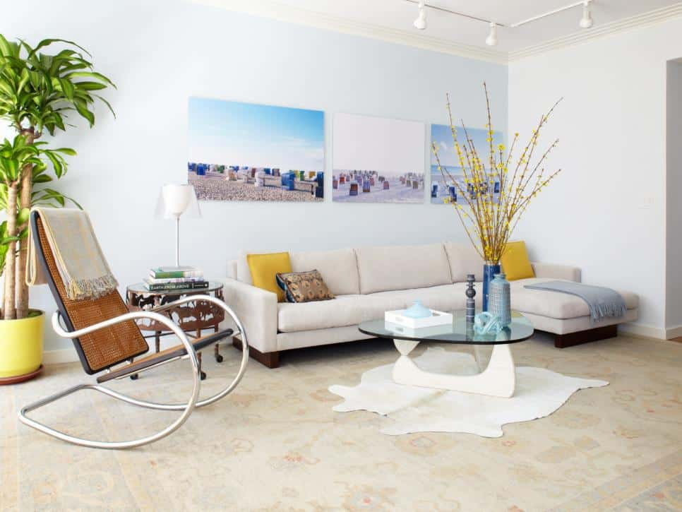 White Living Room with a Rocking Chair (by. hgtv.com)