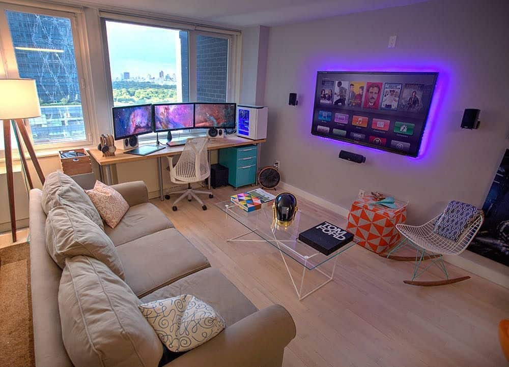 Modern Corner Living Room Game Station (by. @techartistryblog)
