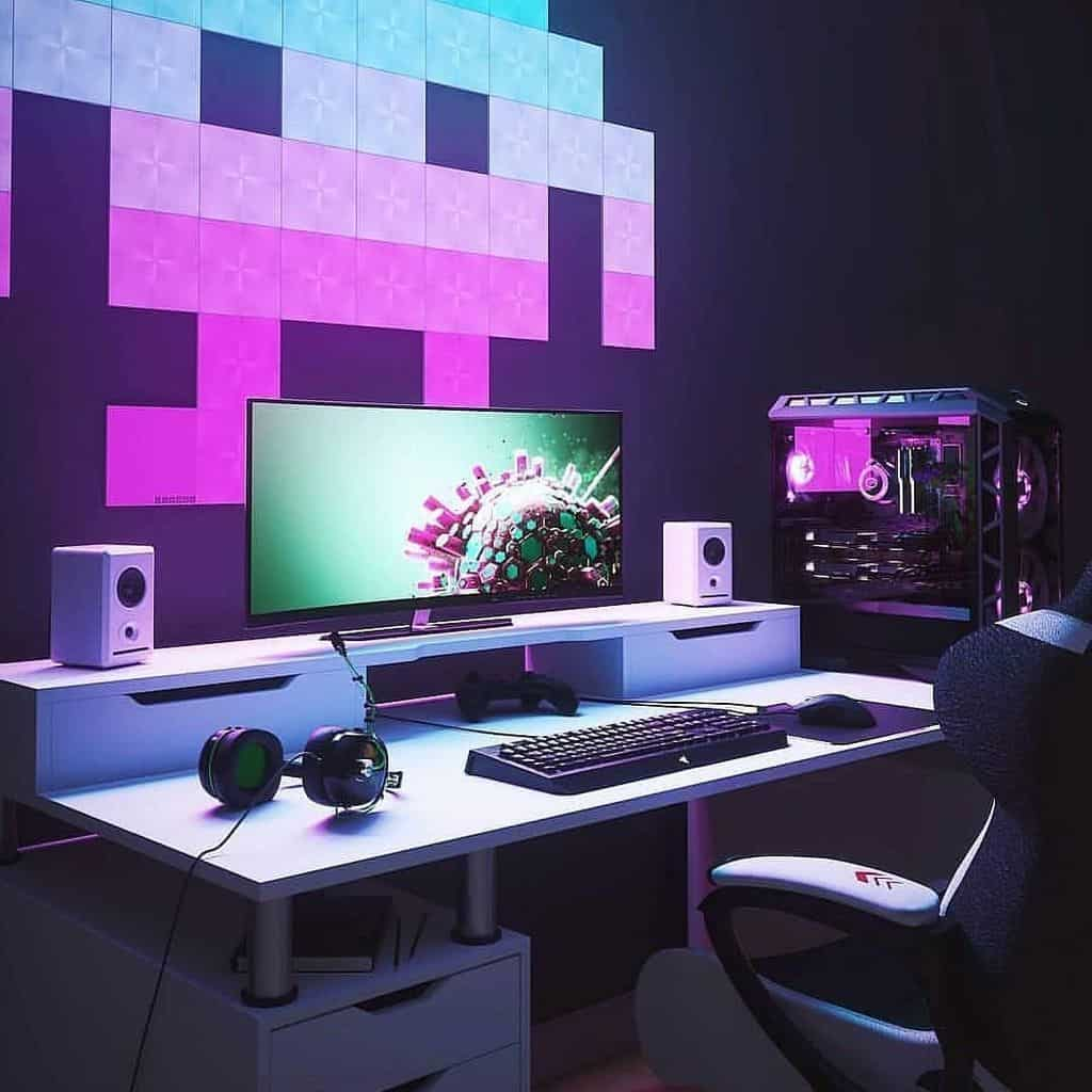 Glow in the Dark Decoration Gaming Room (by. @dream.workspace)