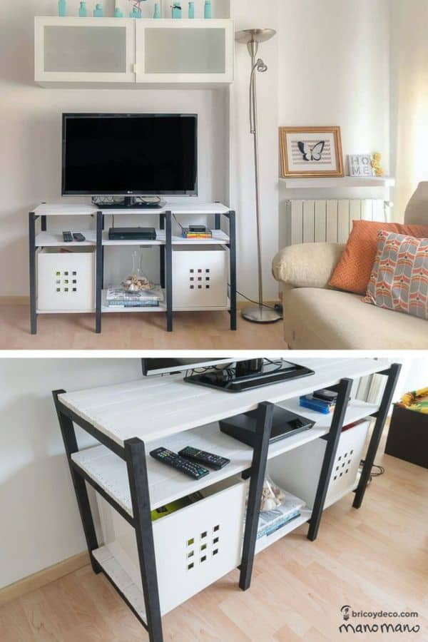 White Pallet TV Stand (by. manomano.co.uk)