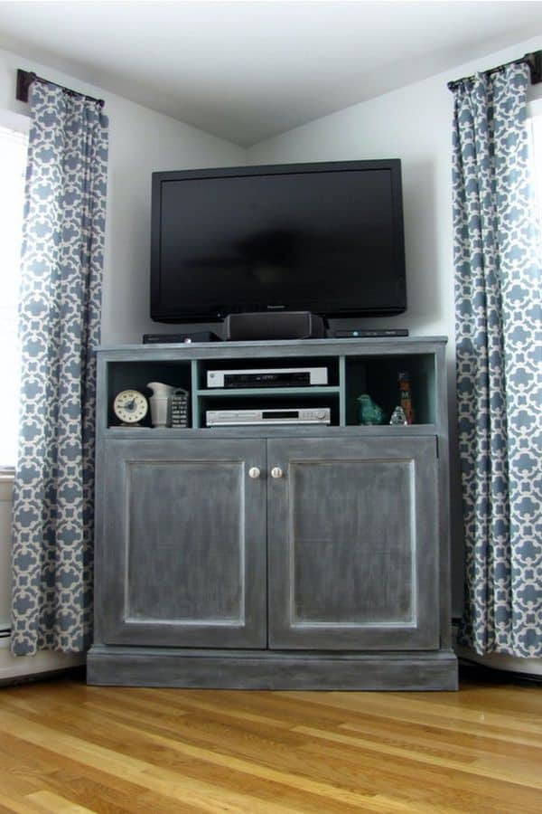 Grey Tall Corner TV Stand (by. ana-white.com)