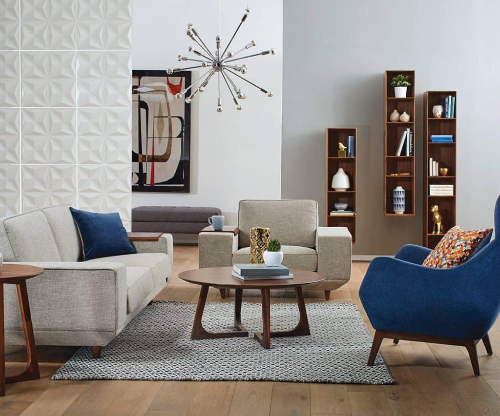 Modern Mid-Leaving Century Living Room with Wooden Floor (by. scandinaviandesigns.com)