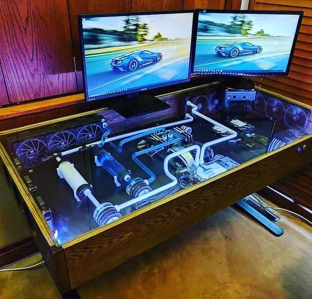 Gaming Setup on the Corner with a Glass Desk (by. @ryflexgaming)