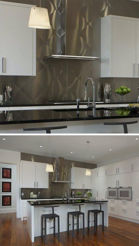 Stainless Backsplash with Visual Illusion (by. eurocraftinteriors.com)