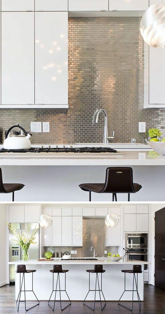 Tiled Metal Backsplash in a Contemporary Kitchen (by. contourinteriordesign.com)