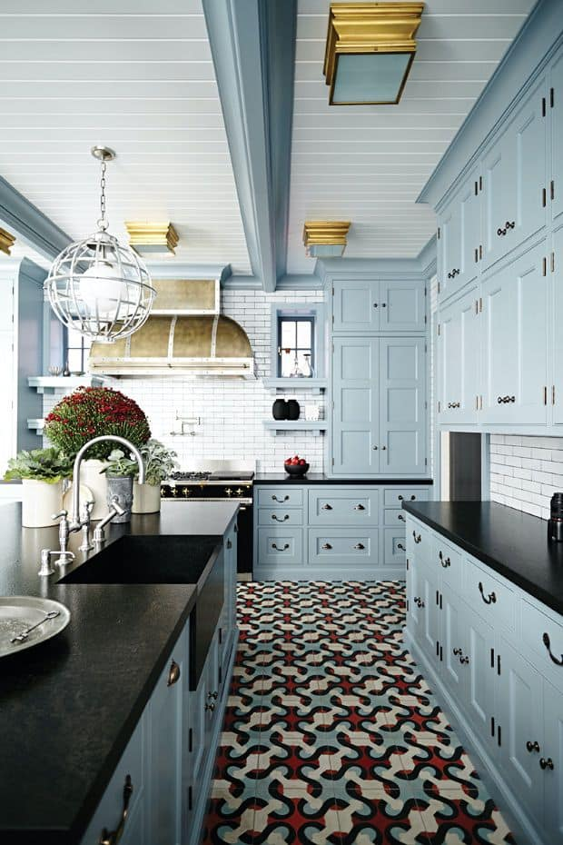 Blue Cabinets with Noticeable Parts (by. houseandhome.com)