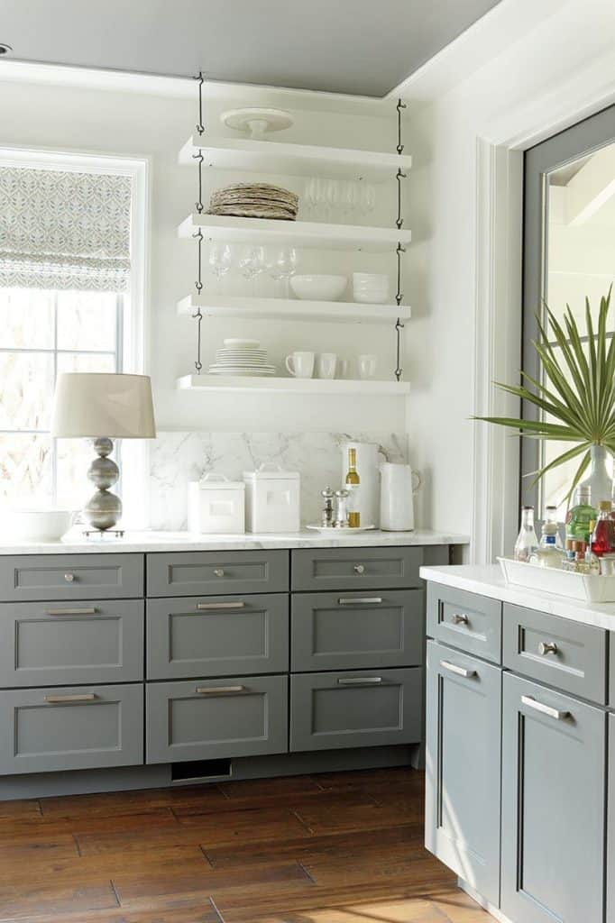 Gray Bottom Cabinets with Contrast White Wall (by. ballarddesigns.com)