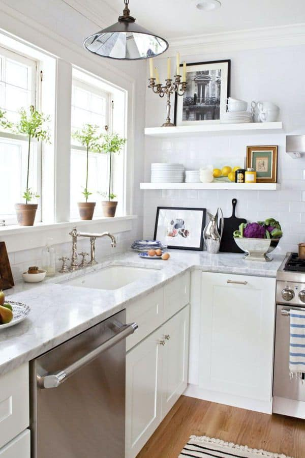 White Cabinetry for Small Kitchen (by. housebeautiful.com)