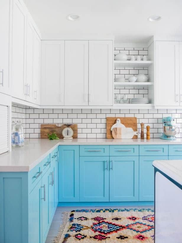 Beach-y Blue Cabinets (by. hgtv.com)