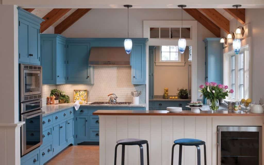 Blue Cabinets in a Warm Beach Cottage (by. elizabethswartzinteriors.com)