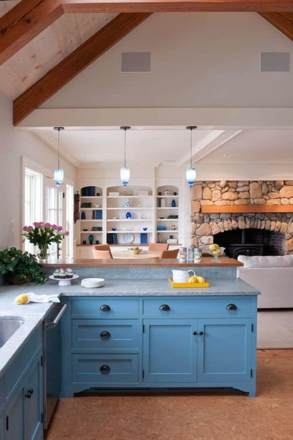 Blue Cabinets in Farmhouse Kitchen (by. thekitchn.com)