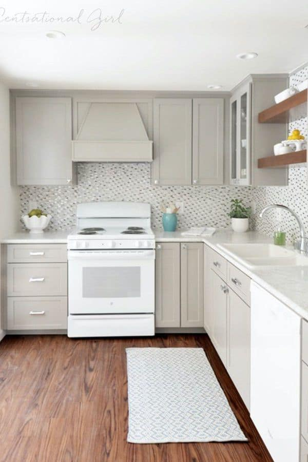 Gray Cabinets with Stained Backsplash (by. centsationalstyle.com)