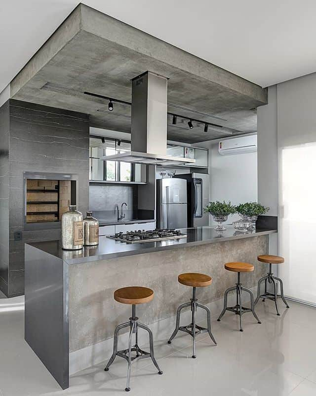 Gray Cabinets in the Modern Industrial Kitchen (by. @fellipelima.fotografia)