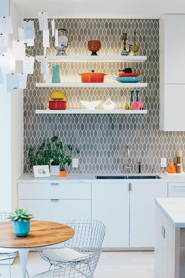 White Cabinet with Patterned Backsplash (by. dwell.com)