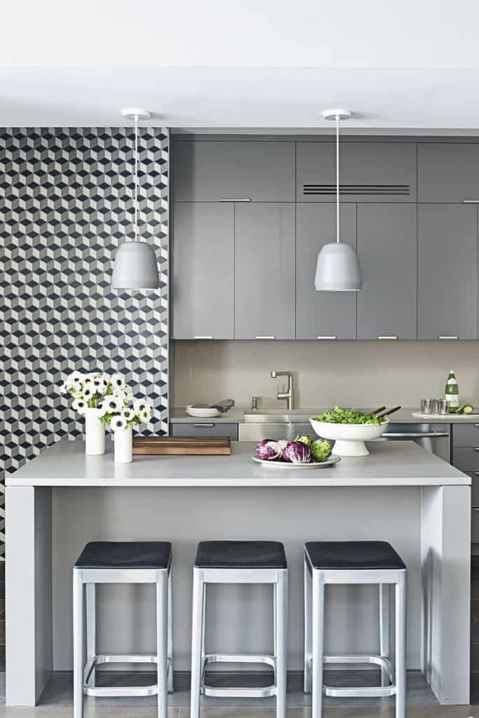 Gray Cabinets with Tiled Walls (by. housebeautiful.com)