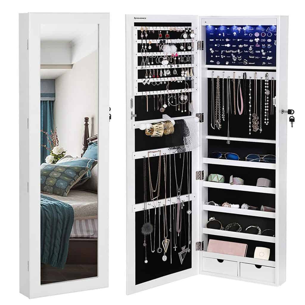 SONGMICS 6 LEDs Mirror Jewelry Cabinet Lockable Wall
