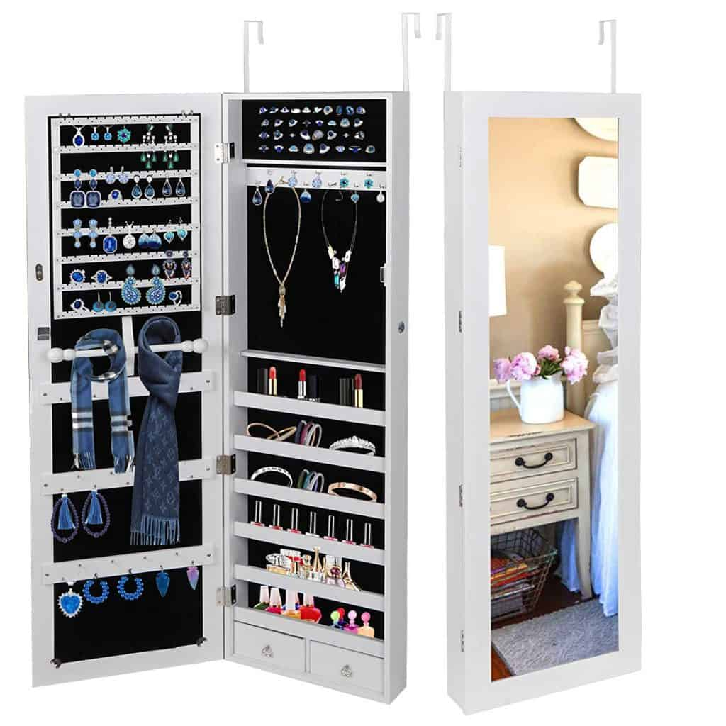 SUPER DEAL Jewelry Armoire Lockable Jewelry Cabinet