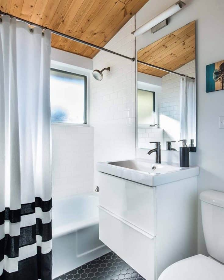 White and Woody Small Bathroom