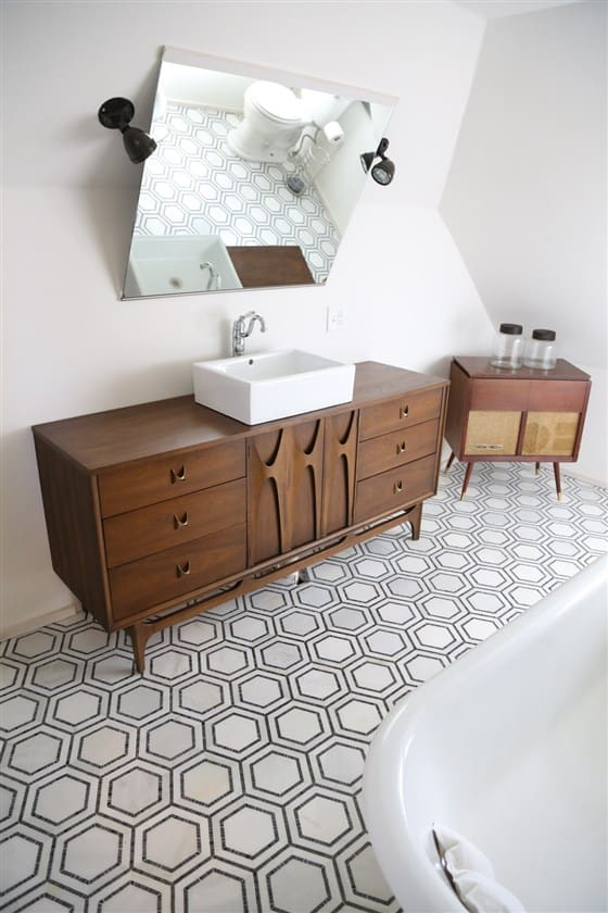 Modern Ceiling Bathroom with Angled Mirror