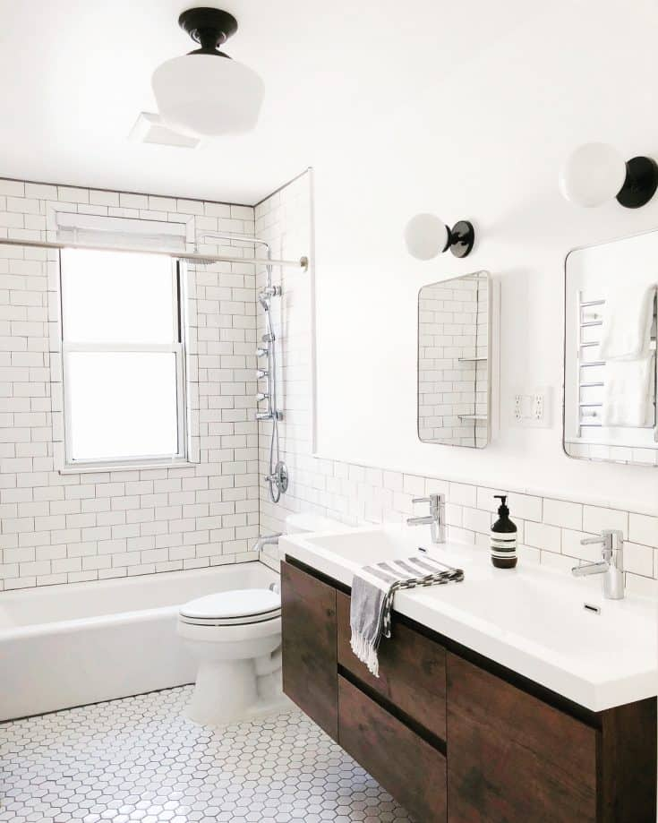 White Bathroom with Different Tiles
