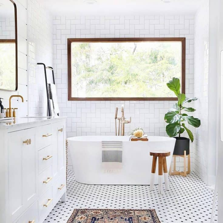 Mid-century White Bathroom with Large Window
