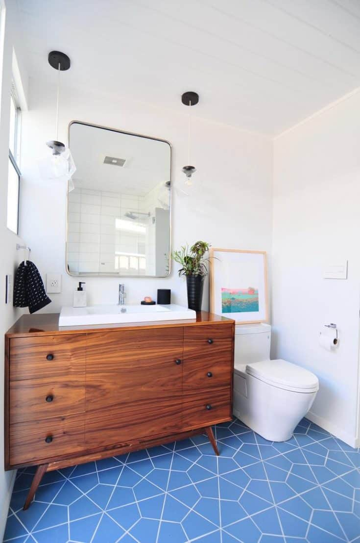 Mid-century Bathroom with Contemporary Tiles