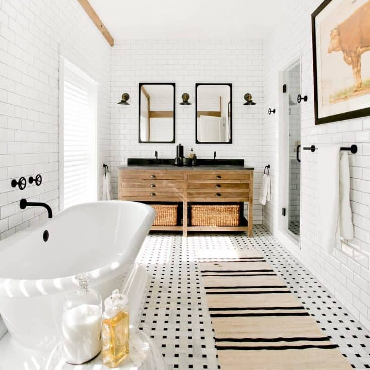 White Bathroom with Twin Vanity Units