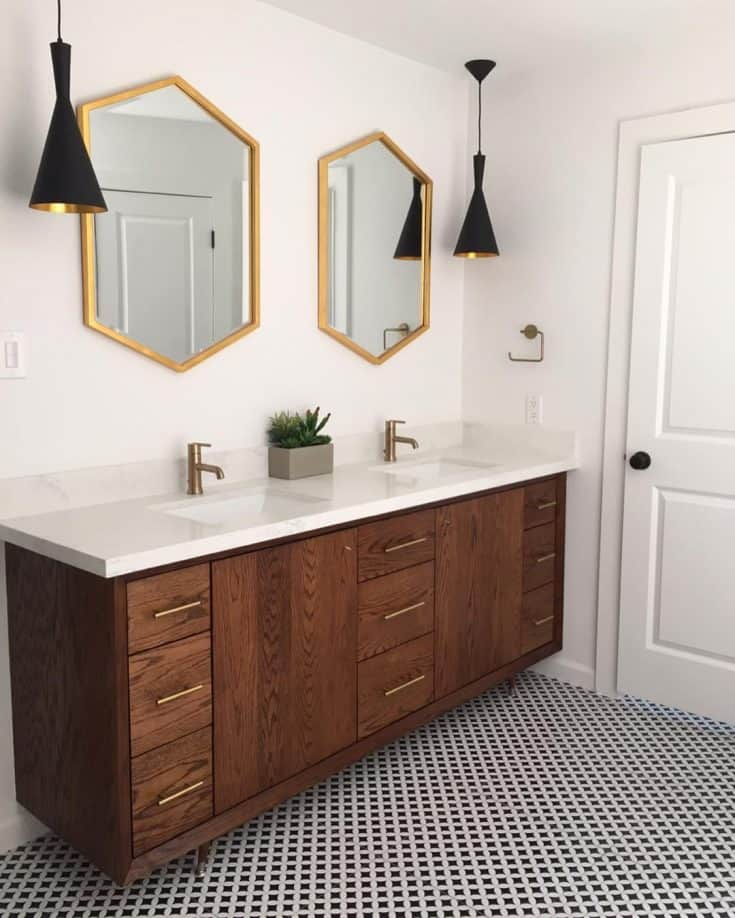 Long Farmhouse Vanity with Unique Mirrors and Lamps